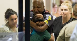 Dallas Police Officer Crying