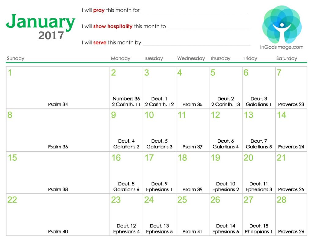 January 2017 Daily Bible Reading Calendar – In God's Image