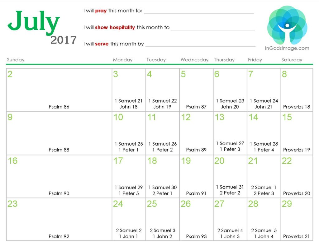 Weekly Reading Calendar : July daily bible reading calendar in god s image