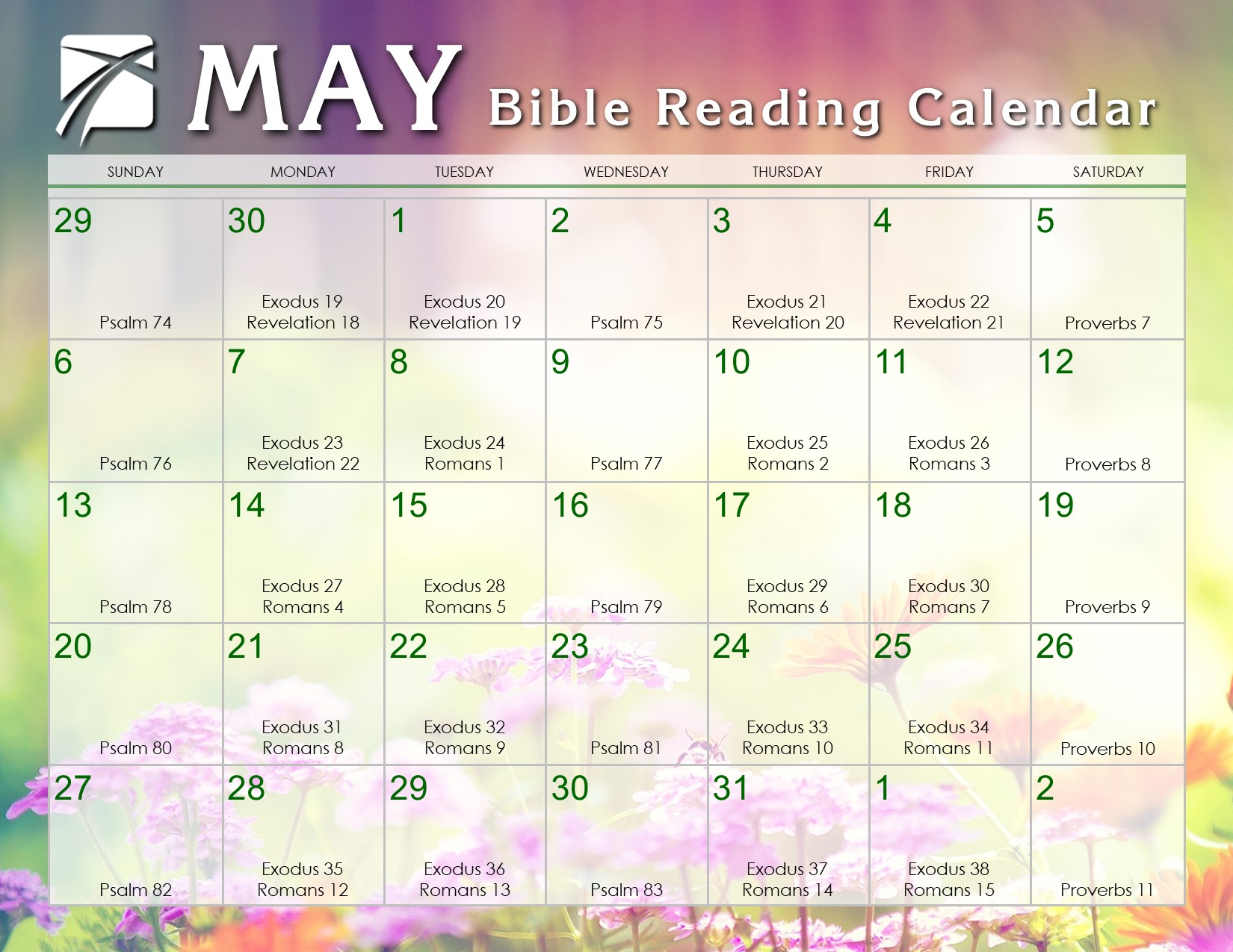 Weekly Reading Calendar : May daily bible reading calendar in god s image