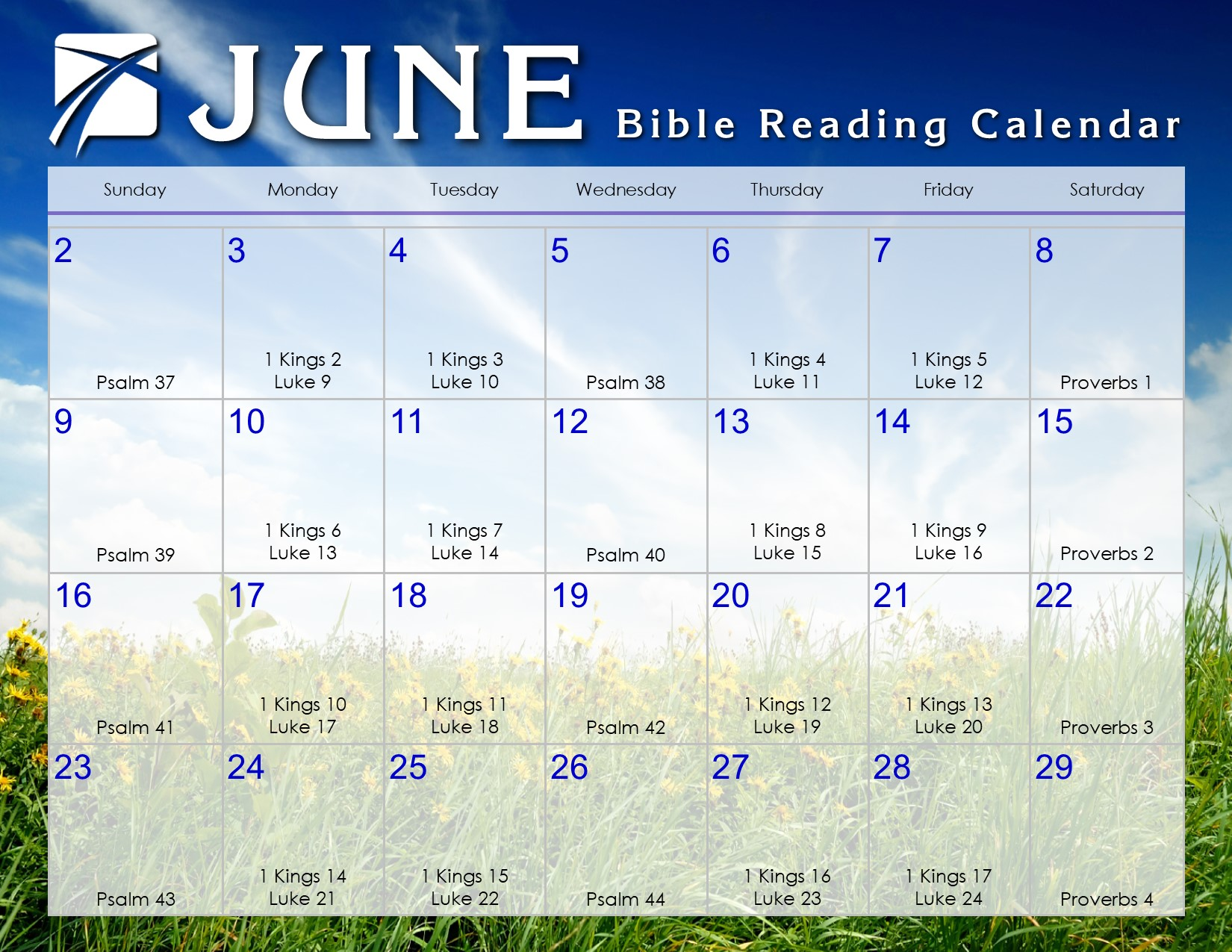 Calendar Of June.June 2019 Daily Bible Reading Calendar In God S Image