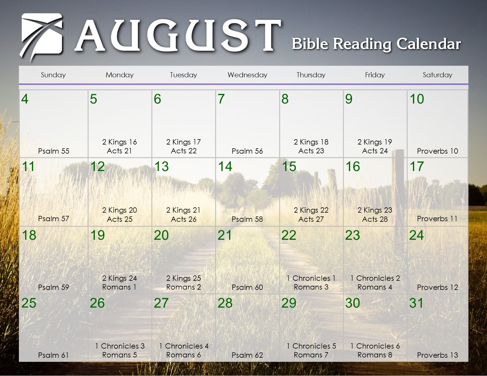 August 2019 Daily Bible Reading Calendar – In God's Image