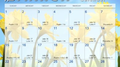 Photo of March 2020 Daily Bible Reading Calendar
