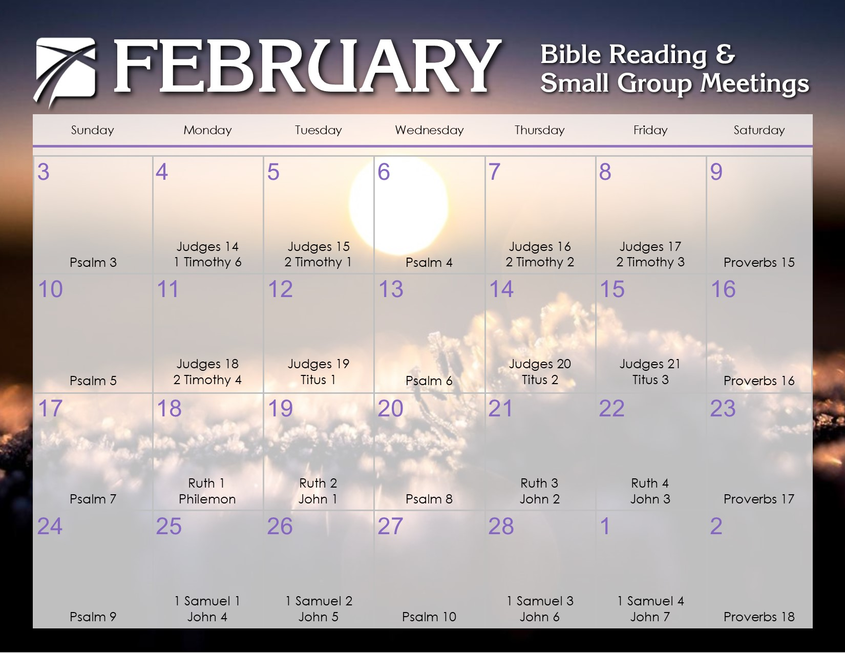 Bible Calendar For February 2019 February 2019 Daily Bible Reading Calendar – In God's Image