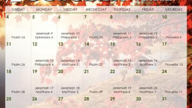 Photo of October 2020 Daily Bible Reading Calendar